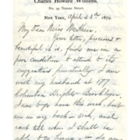 Letter to Ms. Philena McKeen from May H. Williams, April 23, 1879