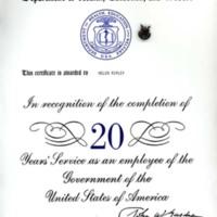 Certificate of appreciation for twenty years of service, Helen Ripley, Abbot Academy, class of 1930