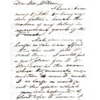 Letter to Ms. Philena McKeen from Sanborn Tenney, Vassar College, October 10, 1867