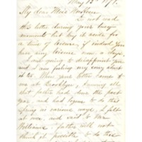 Letter to Phebe McKeen from former Abbot Academy student Mary Hunter Williams, May 13, 1879