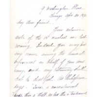 Letter to Ms. Philena McKeen from L. T. Chamberlain, April 20, 1870