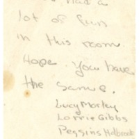 Sherman House Letter, Peggins Holbrook, Lucy Morley, Lorrie Gibbs, Abbot Academy