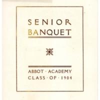 Menu for the senior banquet, Sarah (Sallie) M. Field, Abbot Academy, class of 1904