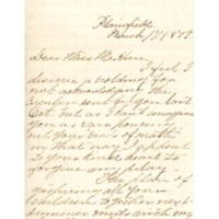 Letter to Ms. Philena McKeen from Ada L. Jams, Abbot Academy, March 17, 1879