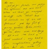 Letter home, Marcie Rickenbacker, Abbot Academy, Class of 1970